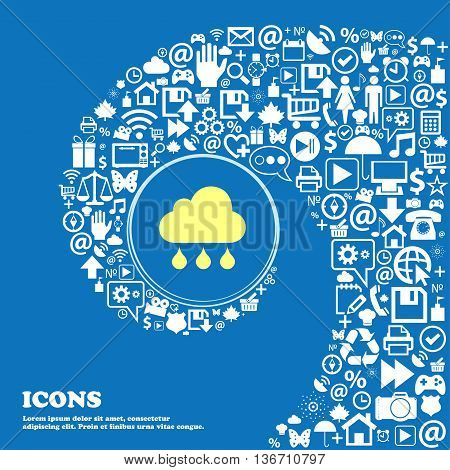 Cloud Rain Icon . Nice Set Of Beautiful Icons Twisted Spiral Into The Center Of One Large Icon. Vect