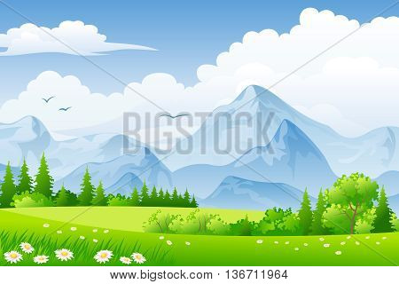 Summer landscape with meadows, flowers and mountains