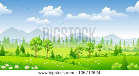 Panorama summer landscape with trees and flowers