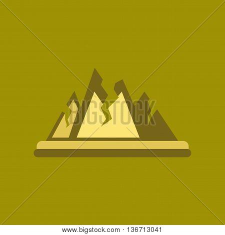 flat icon on stylish background nature cracks mountains