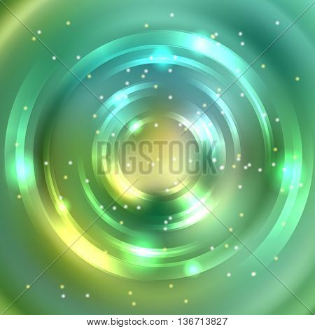 Abstract Green Background, Shining Circle Tunnel. Elegant Modern Geometric Wallpaper.   Vector  Illu