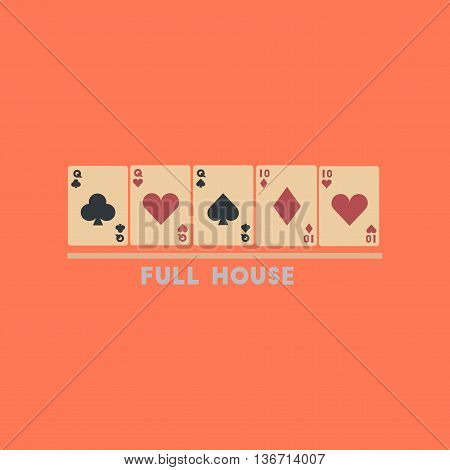 flat icon on stylish background poker full house