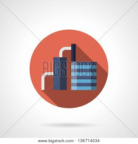 Abstract cement factory with pipelines. Plants and industrial facilities. Building materials industry. Round flat color style vector icon.