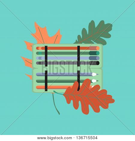 flat icon on stylish background education pencil box pencil pen
