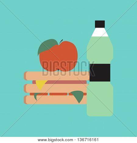flat icon on stylish background school sandwich apple water