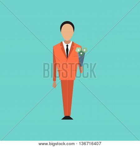 flat icon on stylish background Cartoon schoolboy flowers