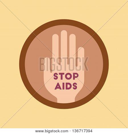 flat icon on stylish background gays Stop AIDS symbol
