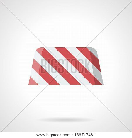 White and red striped concrete block for road enclosure. Traffic restriction or tempore forbidden. Road works, sites, bridge construction. Flat color style vector icon.