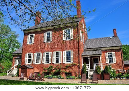 Hillsborough North Carolina - April 20 2016: South front of 1815 Ayr Mount Plantation the estate of Scottish settler William Kirkland *