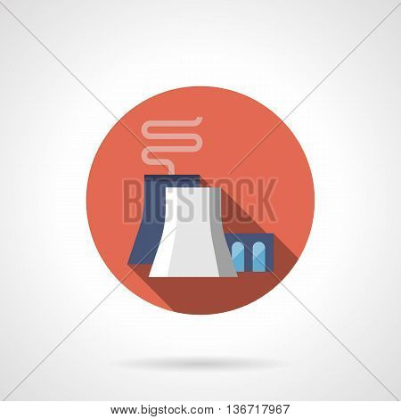 Thermal power plant with large chimneys. Energy industry buildings, factories and industrial facilities. Round flat color style vector icon.