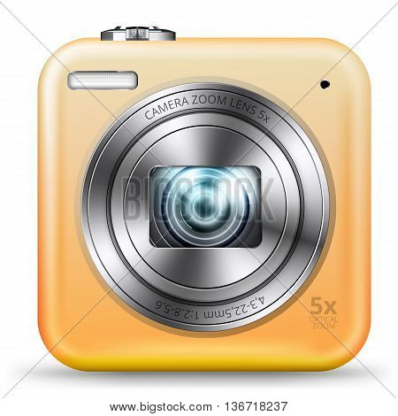 Vector detailed easy bright yellow colored point and shoot camera icon isolated on white background
