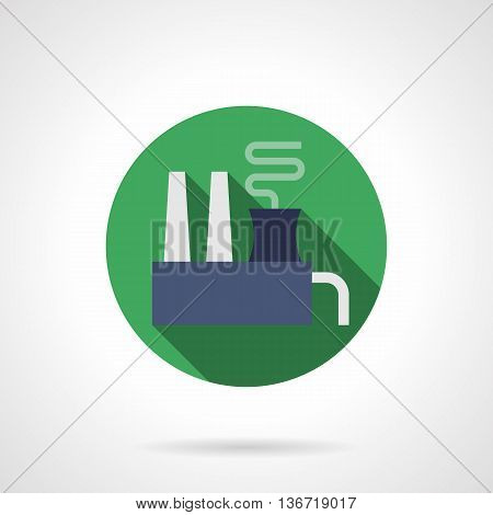 Industrial facilities and buildings. Chemical factory. Ecology concept and environment pollution problems. Round green flat style vector icon.
