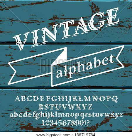 Retro vintage alphabet font. Custom type letters and numbers on a old painted wood background. Stock vector typography for labels, headlines, posters etc.