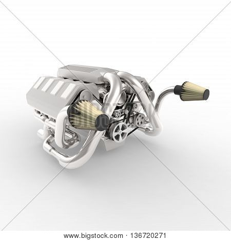 Brilliant large automotive V8 engine with a turbocharger. 3d rendering