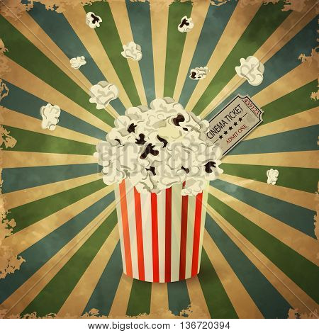 vector illustration of Popcorn box on grange old background