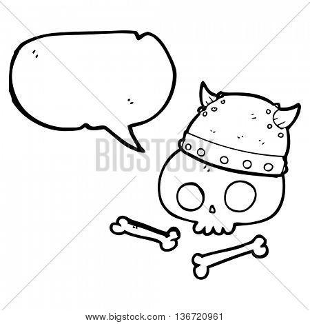 freehand drawn speech bubble cartoon viking helmet on skull