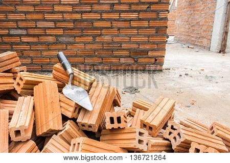 industry building brick wall in site construction