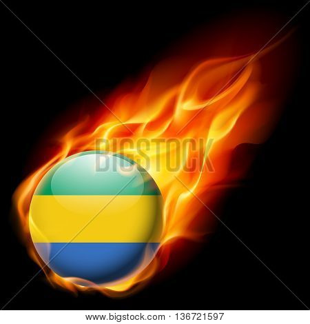 Flag of Gabon as round glossy icon burning in flame