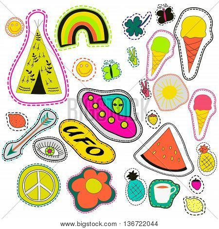 hippie embroidery neon hand drawn patches collection. vector set illustration coffee, arrow, wigwam, rainbow, pineapple, watermelon, UFO, sun, eye, ice cream for stickers patches embroidery badges