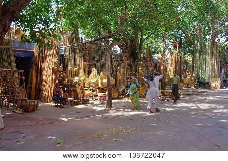 JODHPUR INDIA - SEPT 20: Bamboo products displayed for sale at a local market Sept 20 2013 in Jodhpur Rajastan India.