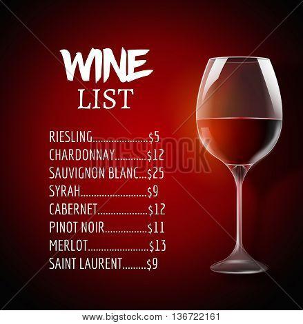Wine menu card design template. Wine list template layout.