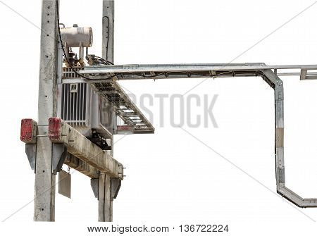 Electric lines and power transformers mounted on power poles on white background.