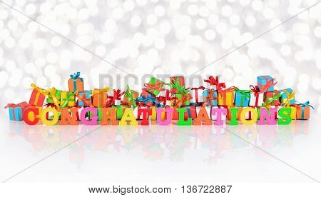 Congratulations Colorful Text On The Background Of Varicolored Gifts