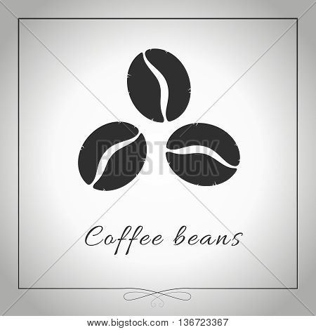 Coffee beans. Three coffee beans silhouette isolated illustration. Graphic. Vector.
