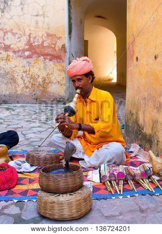 Snake Charmer In Amber Fort  In Jaipur, India.