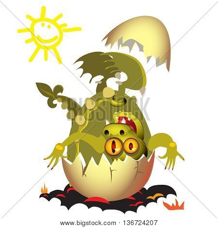 Little Dragon, which is born from an egg.vector