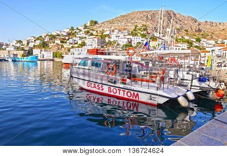 HYDRA GREECE, JUNE 06 2016: traditional port with boats at Hydra island Greece. Editorial use.