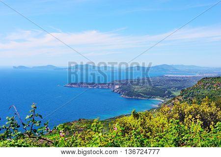 Sardinia west coast seen from above Italy