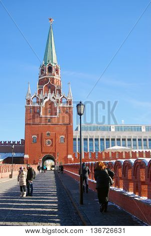 MOSCOW - FEBRUARY 10, 2015: View of the Moscow Kremlin a popular touristic landmark. UNESCO World Heritage Site.
