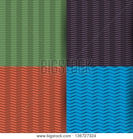 Set of four colored seamless patterns zigzag with the effect of 3D different angle of inclination of lines vector illustration.