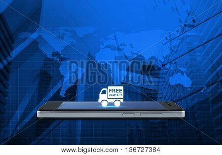 Free delivery truck icon on modern smart phone screen over map and city tower background Transportation business concept Elements of this image furnished by NASA