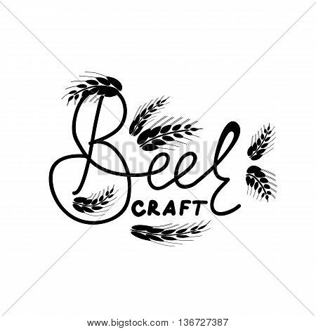 Craft Beer Sign. Craft beer lettering with hand draw ears. Hand draw quote. Lettering element for design. Great for pub menu announcement of the beer festival or brewery poster. Vector illustration