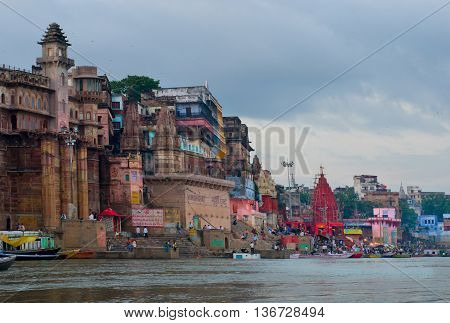 VARANASI INDIA-01 OCT: View of Ganges river with the boats and city 01 Oct 2013 in Varanasi. Varanasi is the spiritual capital of India.