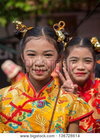 BANGKOK THAILAND - FEBRUARY 09 2016 : Unknown young Thai girl during the celebration of Chinese New Year and Valentine's Day in Yaowarat street Chinatown