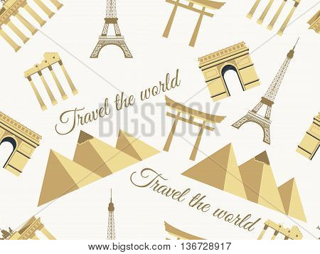 Landmarks seamless pattern seamless pattern wonders architecture seamless pattern. Travel the world world landmarks. Travel and tourism background.