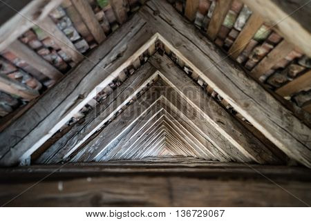 Wood house truss roof structure and timbers