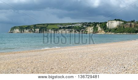 Pebbles on Jurassic Coast in Seaton town, Devon