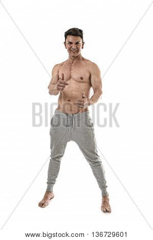 40s attractive hispanic sport man and bodybuilder posing corporate with naked torso showing a very fit and muscular body smiling happy in mature bodybuilding and body care isolated on white