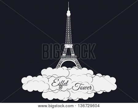 Eiffel Tower Isolated On Black Background. Eiffel Tower In The Clouds. Sights Of Paris And France.