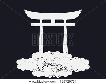 Japan Gate Isolated On Black Background, Torii Gate, Japanese Gate. Torii Gate In The Clouds. Symbol