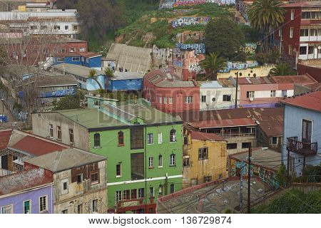 VALPARAISO, CHILE - JULY 1, 2016: Colourful houses on the hillsides of the UNESCO World Heritage city of Valparaiso on the Pacific Coast of Chile.