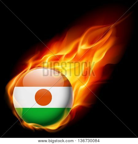 Flag of Niger as round glossy icon burning in flame