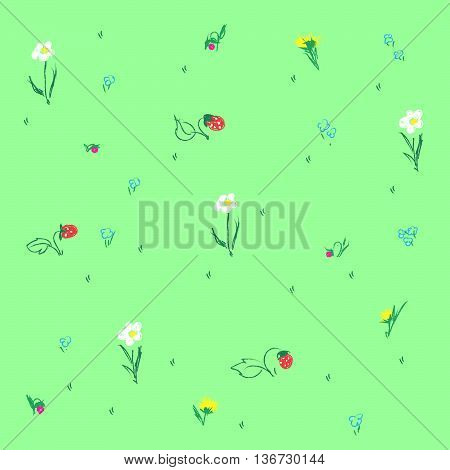 Set with wildflowers, grass and strawberries on green background