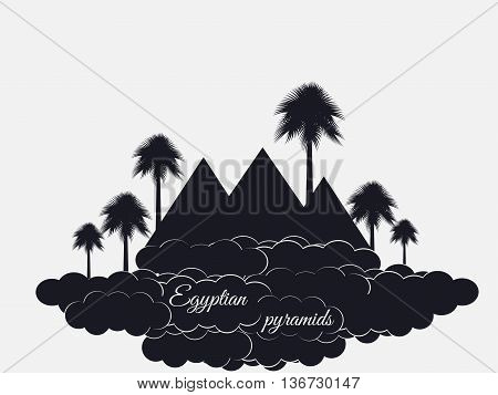 Egyptian Pyramids Isolated On White Background. Egyptian Pyramids In The Clouds. The Symbol Of Egypt