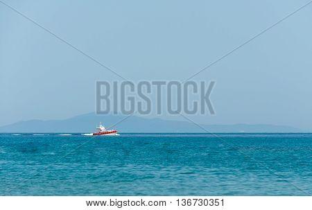 Italian coast guard rubber dinghy in gulf of asinara - sardinia