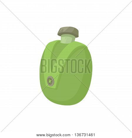 Camp water bottle icon in cartoon style isolated on white background. Hunting equipment symbol